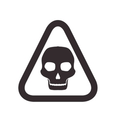 Skull road sign triangle warning icon vector