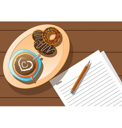 Relax coffee break and donut vector