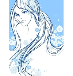 Beautiful winter girl vector image