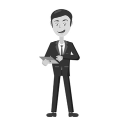 Businessman working on tablet icon vector