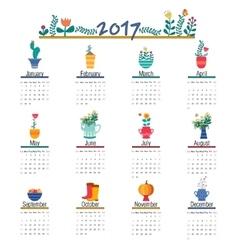 Cute Calendar Template for 2017 Beautiful Funny vector image
