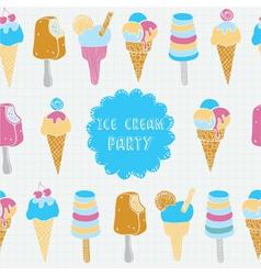 Retro of ice cream seamless pattern vector image