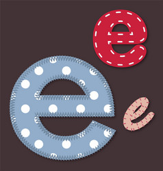 Set of stitched font - letter e vector