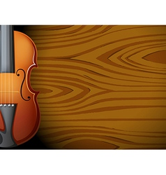A guitar in front of a wooden wall vector image