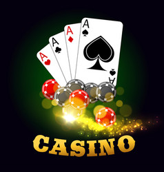 Casino poster with poker cards suits and dices vector