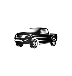 Isolated monochrome engraving style pickup trucks vector