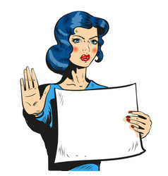 woman comic style showing stop sign vector image