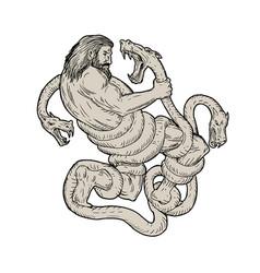 Hercules fighting lernaean hydra drawing vector