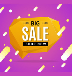 Sale concept label flyer card origami style bubble vector