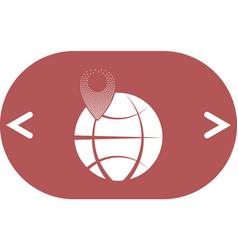 Pin on globe icon vector
