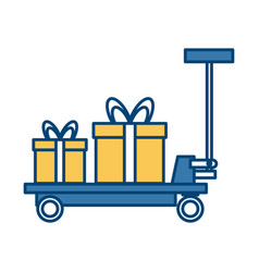 delivery cart gift boxes transport logistic icon vector image