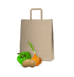 Paper bag and fresh vegetables vector