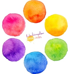 Rainbow watercolor circles vector