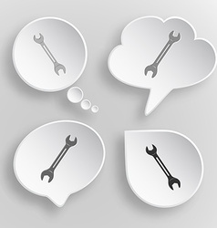 Spanner white flat buttons on gray background vector