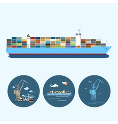 Set icons with crane containership vector
