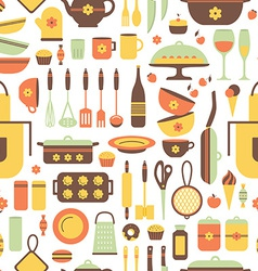 Seamless pattern of kitchen utensils vector