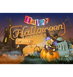Happy halloween party witch background vector