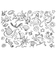 Doodle set of sea vector image