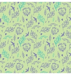 Seamless pattern with weed flowers and birds vector