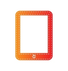 Computer tablet sign orange applique isolated vector