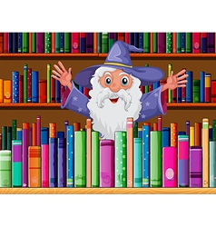 A wizard inside the library vector image