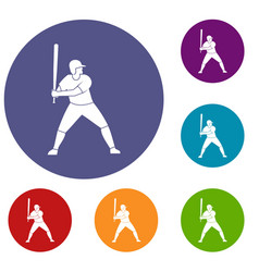 baseball player with bat icons set vector image