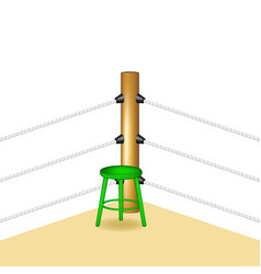 Boxing corner with green wooden stool vector