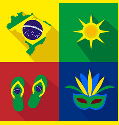 Brazil sun slippers mask summer time cartoon vector