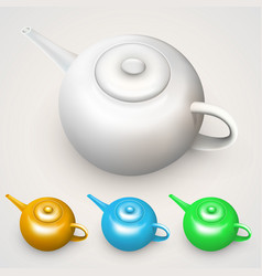bright colored teapots vector image