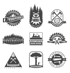 Carpentry sawmill and woodwork vintage logos vector