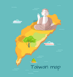 Cartoon taiwan map with buddha statue vector