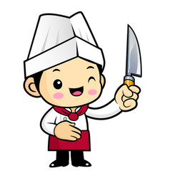 Chef character is holding a knife isolated on vector