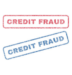 Credit fraud textile stamps vector
