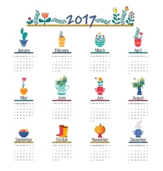 Cute Calendar Template for 2017 Beautiful Funny vector image