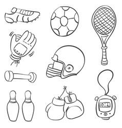 Doodle of various sport equipment vector