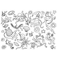 Doodle set of sea vector