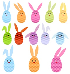 Easter egg bunnies vector image