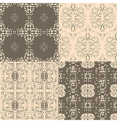 Flower seamless pattern set floral designed vector image vector image