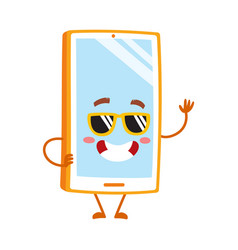 funky cartoon mobile phone smartphone character vector image