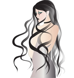 Goth girl with long black hair in white dress vector image