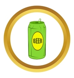 Green beer can icon cartoon style vector