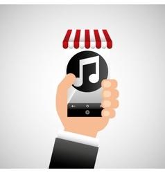 hand holding e-shopping music design vector image