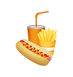 Hot dog fries french and soda food vector