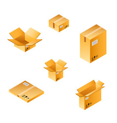 Isometric box set of different size vector