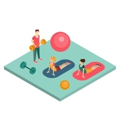 Isometric gym workout flat vector