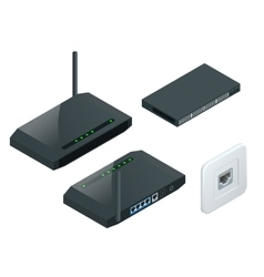 Isometric Wi-Fi wireless router vector image vector image