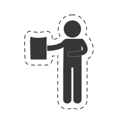 man holding document figure pictogram vector image