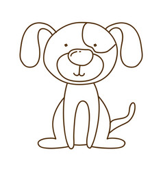 Monochrome thin contour of dog sitting vector