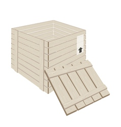 Open Wooden Cargo Box on White Background vector image vector image