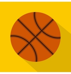 Orange basketball ball icon flat style vector image vector image